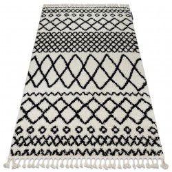 Koberec BERBER SAFI N9040 bílá / černý Třepení berber maročtí shaggy střapatý