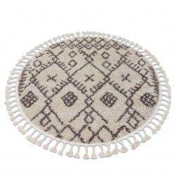 Koberec BERBER TANGER B5940 kruh krém / hnědý Třepení berber maročtí shaggy