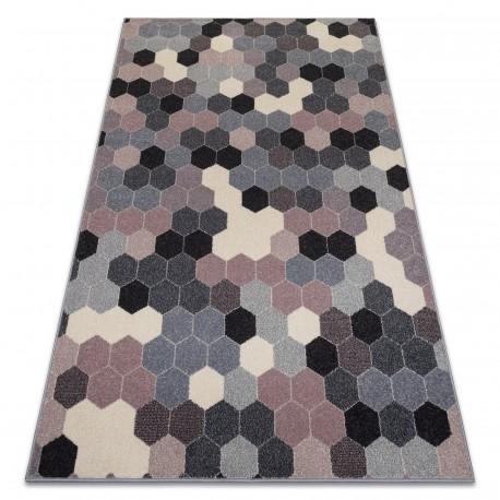 Koberec HEOS 78537 šedá / růžový / krém HEXAGON
