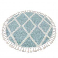 Koberec BERBER TROIK A0010 kruh modrý / bílá Třepení berber maročtí shaggy