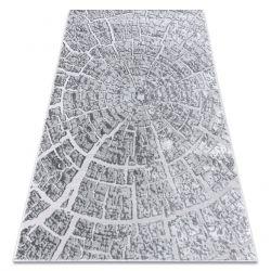 Moderní koberec MEFE 6185 Strom dříví - Structural dvě úrovně rouna šedá