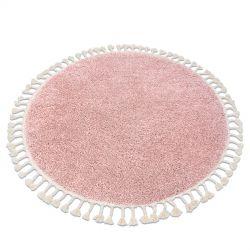 Koberec BERBER 9000 kruh růžový Třepení berber maročtí shaggy