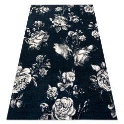 Koberec GNAB 60642734 Květiny růže tmavě modrá / bílá