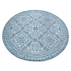 Koberec SISAL LOFT 21193 BOHO kruh slonová kost/stříbrný/modrý