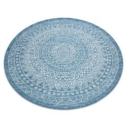 Koberec SISAL LOFT 21207 Růžice BOHO kruh slonová kost/stříbrný/modrý