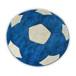 Koberec pro děti KRUH PRUMER HAPPY fotbal modrý