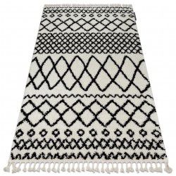Koberec BERBER SAFI N9040 bílá / černý Třepení berber maročtí