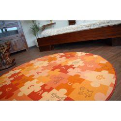 Koberec kruh PUZZLE oranžový